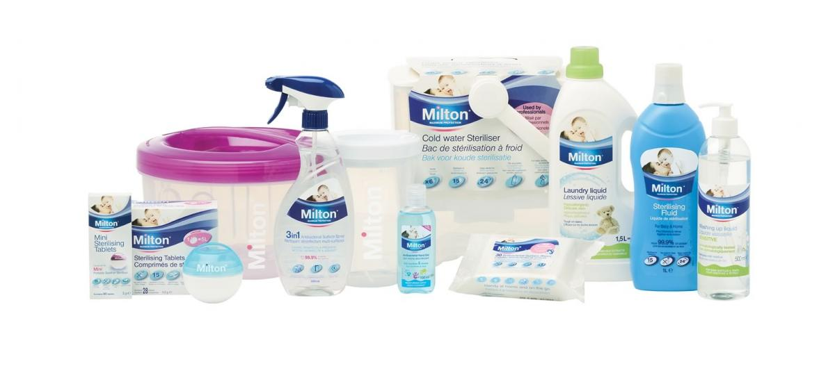 Milton's full range of sterilising and hygiene products